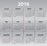 Light gray calendar grid for 2016 Stock Photography