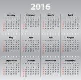 Light gray calendar grid for 2016. Sundays first. Vector illustration Stock Photography