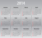 Light gray calendar for 2014. Solid calendar for 2014. Sundays first Royalty Free Stock Photography