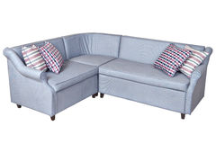 Light gray corner fold-out upholstered in fabric sofa bed,  isol Stock Photos