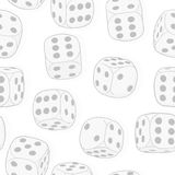 Light gray dices on the white background. Monochrome seamless or Royalty Free Stock Photos