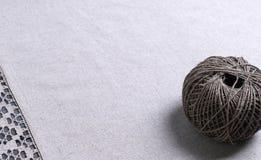 Light gray fabric from flax coarse burlap Stock Image