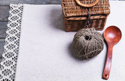 Light gray fabric from flax coarse burlap Stock Images