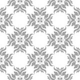 Gray floral seamless pattern on white background. Light gray floral ornament on white background. Seamless pattern for textile and wallpapers Royalty Free Stock Photos