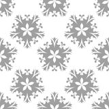 Gray floral pattern on white. Seamless background Stock Photo
