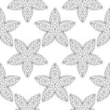 Gray floral pattern on white. Seamless background. Light gray floral ornament on white. Seamless pattern for textile and wallpapers Stock Photo