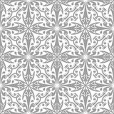 Gray floral pattern on white. Seamless background. Light gray floral ornament on white. Seamless pattern for textile and wallpapers Royalty Free Stock Images