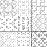 Light gray geometric ornaments. Collection of seamless patterns. Light gray geometric ornaments. Collection of neutral seamless patterns for web, textile and Stock Photos