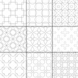Light gray geometric ornaments. Collection of seamless patterns. Light gray geometric ornaments. Collection of neutral seamless patterns for web, textile and Stock Image