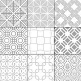 Light gray geometric ornaments. Collection of seamless patterns. Light gray geometric ornaments. Collection of neutral seamless patterns for web, textile and Royalty Free Stock Photo