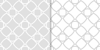 Light gray geometric ornaments. Set of seamless patterns. For web, textile and wallpapers Stock Photos