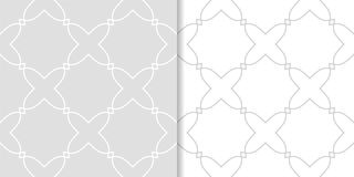 Light gray geometric ornaments. Set of seamless patterns. For web, textile and wallpapers Royalty Free Stock Photo