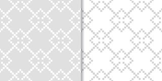 Light gray geometric prints. Set of seamless patterns vector illustration
