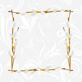 Light gray ornamental frame with pussy willow branch Royalty Free Stock Images