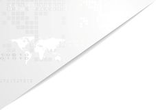Light gray technology corporate background. With world map. Vector graphic design Stock Image
