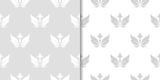 Light gray and white floral seamless ornaments Royalty Free Stock Image