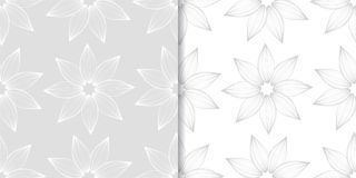 Light gray and white floral seamless ornaments. Light gray and white floral ornaments. Set of seamless patterns for textile and wallpapers Stock Photo
