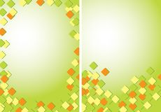 Light green abstract backgrounds A4 with colored quadrates - vector royalty free illustration