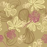 Background with abstract seashells butterflies and flowers vector seamless pattern. Light green background with abstract seashells, butterflies and flowers royalty free illustration