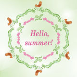 green vector background with floral ornaments - summer Stock Image