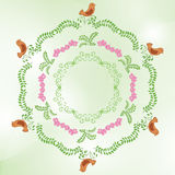 green vector background with floral ornaments Stock Images