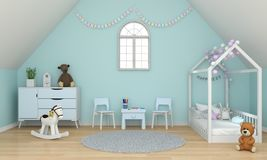 Light green child room interior under the roof for mockup, 3D rendering royalty free illustration