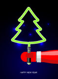 Light Green Christmas tree . Lightsaber in form of tree. Holiday Royalty Free Stock Image