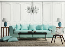 Light green elegant baroque living room Royalty Free Stock Photography