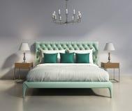 Light green elegant modern bedrooom interior. 3d rendering of a contemporary elegant luxury light green bedroom stock illustration