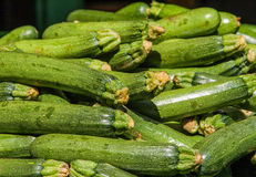 Light green fresh zucchini stacked. Food background: fresh zucchinis or courgettes from the market Royalty Free Stock Image