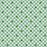 Light green Gingham Fabric  with Marijuana Background. A seamless and repeating background with marijuana leafs Stock Photo