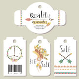 Light green gold pink tag sale in boho style. On summer Stock Image