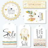 Light green gold pink tag sale in boho style on summer. Light green gold pink tag sale in boho style on valentine's day Royalty Free Stock Photos