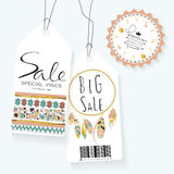 Light green gold pink tag sale in boho style. On valentine's day Royalty Free Stock Images