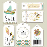 Light green gold pink tag sale in boho style. On valentine's day Stock Photo