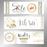 Light green gold pink tag sale in boho style. On valentine's day Stock Photography