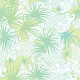 Light green palms and waves summer seamless patter. Seamless summer pattern vector illustration of light green palms and waves royalty free illustration