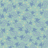 Light green pattern with blue flowers Royalty Free Stock Photo