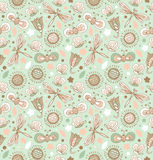 Light green pattern with flowers, dragonflies and butterflies. Floral fabric seamless texture. Fantasy elegant spring background royalty free illustration