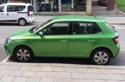 Light green Skoda Fabia car in Prague Stock Photography