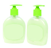 Light green soap containers Stock Photo