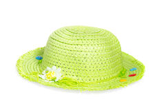 Light green straw Panama hat isolated on white background Stock Photos