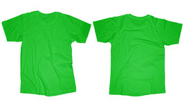 Light Green T-Shirt Template. Wrinkled blank light green t-shirt template, front and back design isolated on white Royalty Free Stock Photo