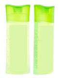 Light green transparent shampoo bottles Stock Photo