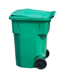 Light green trash can. Large, green, wheeled trash can on white Royalty Free Stock Photography