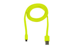 Light green usb-cable micro usb isolated Stock Images