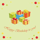 Light green vector background with gifts - Happy birthday to you Stock Images