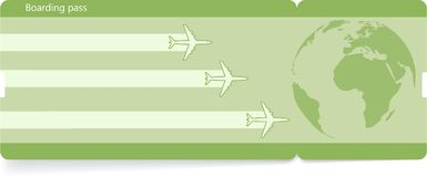 Green vector template of boarding pass ticket. Light green vector template of boarding pass ticket. Concept of trip, journey or travel royalty free illustration
