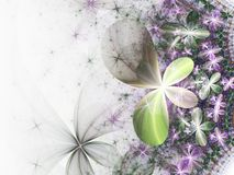 Light green and violet fractal flowers. Digital artwork for creative graphic design Stock Photography