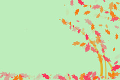 Light green wallpaper with colorful leaves Stock Images
